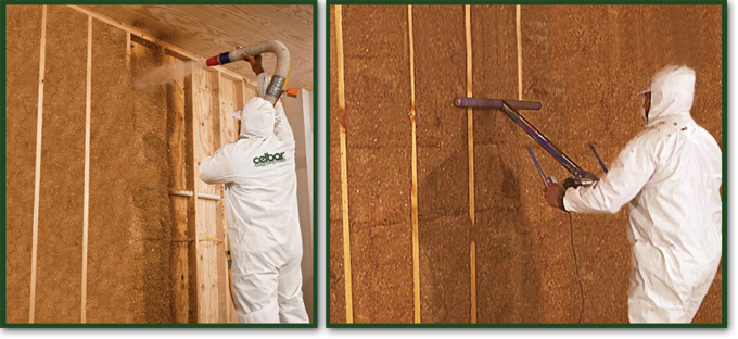 Celbar cellulose insulation is blown in and then planed to ensure complete insulation coverage.